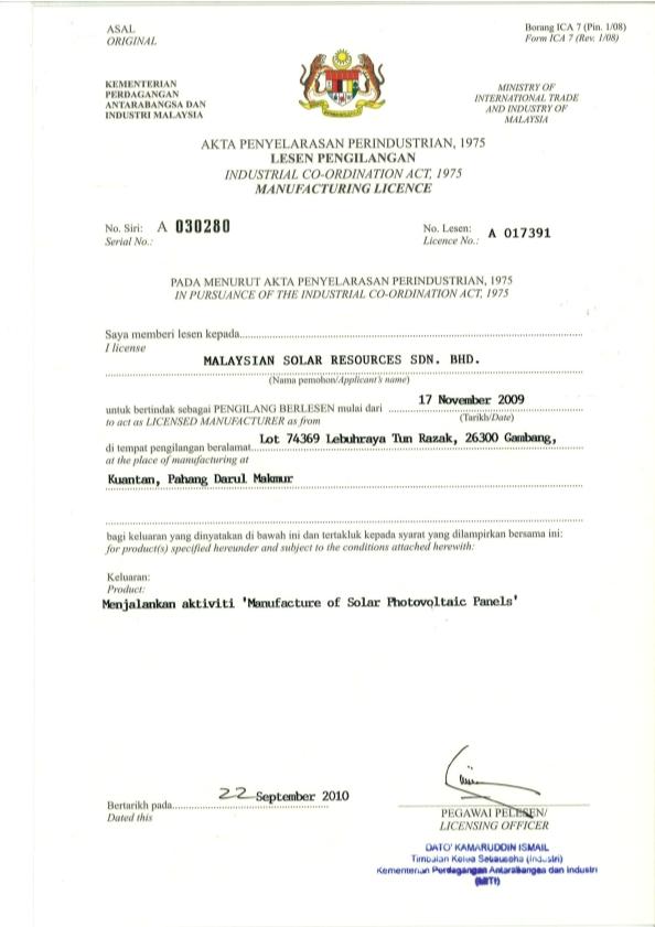Certifications Malaysiansolar Com